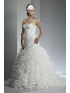 Lace Mermaid Strapless Floor Length Wedding Dress with Jeweled Detail