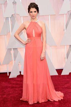 Anna Kendrick 2016 Oscars Red Carpet Coral Formal Dress Halter A-line Beading Off The Shoulder Celebrity Dress