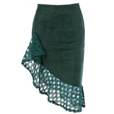 Openwork Asymmetrical Suede Skirt (95 RON) ❤ liked on Polyvore featuring skirts, asymmetrical skirt, green skirt, green asymmetrical skirt, suede skirt and suede leather skirt