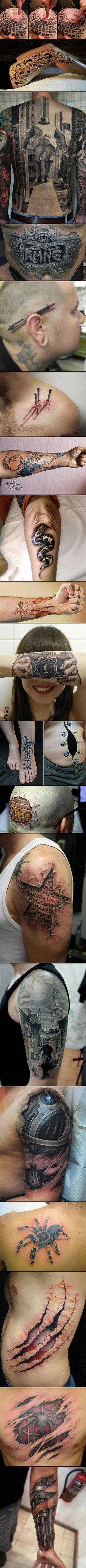 Here are some cool optical illusion 3D tattoos that will boggle your mind.