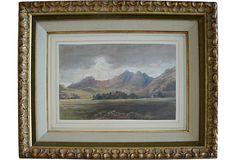 19th-C. Landscape Watercolor