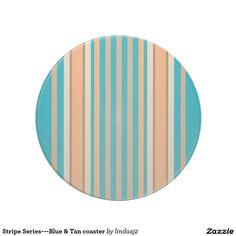 Stripe Series---Blue & Tan coaster