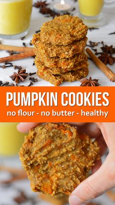 Pumpkin Oat Spiced Cookies - no butter, no flour, no eggs and naturally sweetened with fruit. These healthy cookies are vegan, gluten-free and easy to make. Full of spices for flavour and nutrition #vegan #healthy #pumpkinspice #veganrecipe #sugarfree