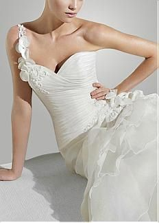 Elegant Organza Satin A-line One Shoulder Wedding Dress With Handmade Flower and Lace Appliques #dressilyme