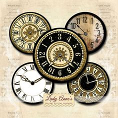 INSTANT DOWNLOAD Clock Faces 2 inch Printable by LadyAnnes Steampunk Clock, Clock Faces, Diy Clock, Steampunk Wedding, Altered Images, Vintage Scrapbook, Vintage Ephemera, Digital Collage, Collage Sheet