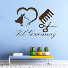 Wall Decal Pet Grooming Salon Dog Cat Shop Scissors Vinyl Sticker Decor MR590 #STICKALZ #MuralArtDecals