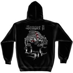 Black short sleeve t-shirt with Semper Fi, Eagle Globe & Anchor, and USMC over left breast. Large USMC Bulldog graphic on the back. Details: Eye-catching screen printed graphics printing Heavy-weight preshrunk cotton T-Shirt Sizes S to Dog Hoodie, Fleece Hoodie, Hooded Sweatshirts, Pullover, Hoodies, Sweater Hoodie, Semper Fi Marines, Usmc, Marine Corps T Shirts