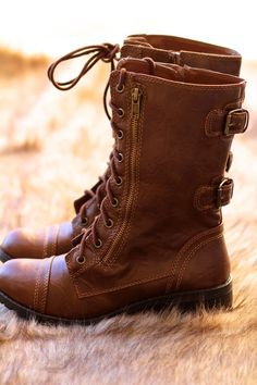 My Style Combat Boots in Tan from NanaMacs Boutique. Great Price for a super…