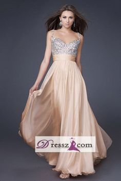 This might be Katrina's pick - this champagne color might be too light - Custom Handmade Top quality Chiffon Beaded Sparkly Spaghetti Strap V Neck Wedding Party Bridesmaid Prom Gown Emcee Evening Dress-in Evening Dresses from Apparel & Accessories on Aliexpress.com