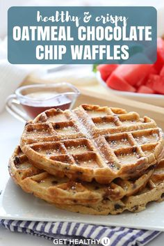 These sweet and crispy Oatmeal Chocolate Chip Waffles are the ultimate gluten-free and healthy breakfast made from wholesome ingredients! Everybody loves waffles, but knows they aren't the healthiest way to start the day. Not anymore! These waffles ARE healthy, super tasty, and once you try them you'll never turn back to the traditional unhealthy waffles ever again!
