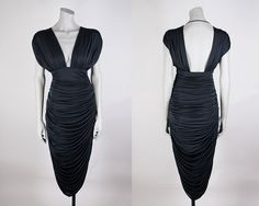 Vintage 80s Dress / 1980s Avant Garde Black Low Cut Backless Draped Casadei Cocoon Dress M