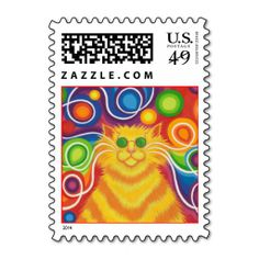 Psy-cat-delic postage stamp portrait. Wanna make each letter a special delivery? Try to customize this great stamp template and put a personal touch on the envelope. Just click the image to get started!