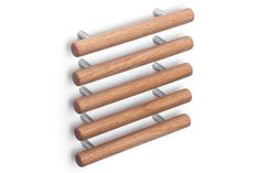 Natural collection cabinet pulls in white oak by Tantalus Design White Oak, Rolling Pin, Hardware, Natural, Wood, Modern, Cabinet, Collection, Design