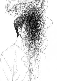 drawings dark meaning drawing deep schizophrenia fear demon line behance easy vent human scribble illustrations turecepcja