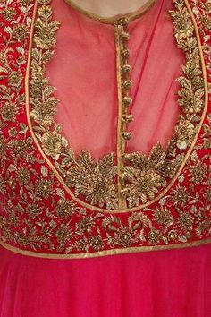 Featuring an ivory and magenta shaded anarkali in net with fully zardozi embroidered velvet bodice. It comes along with magenta lycra net churidaar and matching crepe dupatta with gold trims. Slight variety in shading is conceivable. Salwar Designs, Saree Blouse Designs, Blouse Styles, Silver Work, Gold Work, Hand Work Embroidery, Embroidery Designs, Couture Embroidery, Embroidery Stitches
