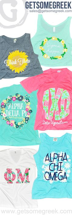 Sorority Shirts!! Sorority Tanks!! GetSomeGreek gets floral!! We are loving all of the super cute floral designs that have come through this semester!! Get Get started today! Email Sales@GetSomeGreek.com!