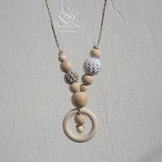 Nursing Ring Necklace White Linen Neutral Teether Eco 100% Natural Jewelry Sling Necklace Teething Ring Trend Wood Crochet Ball Hipster Gift