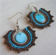 Amy Earrings in Turquoise and Chocolate