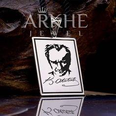İmzalı Atatürk Silüeti Gümüş Kolye - Arkhe Jewel