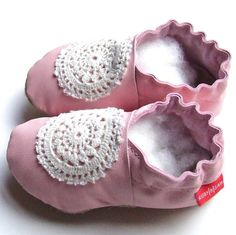 Leather 6-12m ballet pink with doily soft soled shoes by Ruby & Sam www.madeit.com.au