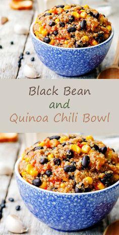 Quinoa Recipes - Black Beans and Quinoa Chili Bowl - Simple Salads, Side Dishes and . - Quinoa Recipes – Black Beans and Quinoa Chili Bowl – Simple Salads, Side Dishes and …, - Best Quinoa Recipes, Vegetarian Recipes, Cooking Recipes, Quinoa Dinner Recipes, Quinoa Bean Recipe, Healthy Black Bean Recipes, Vegetarian Quinoa Chili, Avocado Recipes, Clean Recipes