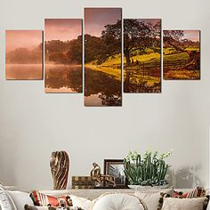 2016 Modern 5 Panel Painting Printed Lake Scenery Painting Wall Pictures For Linving Room Canvas Art No Frame 4820944 2016 – $35.99