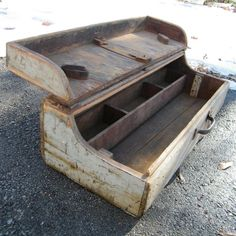Craftsmans Tool Box Very Large Wood Primitive Rustic Industrial