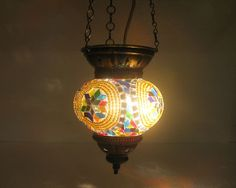 Multi-Color mosaic hanging cristal lamp Turkish lantern candle holder light 132 #Handmade #Moroccan