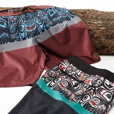 Inspired by the Native American art of the Pacific Northwest. Our new Tribe Trunks feature 4-way eco stretch fabric made from recycled water bottles. Available in stores and online at http://www.hippytree.com/shop/boardshorts/tribe-trunk.html. #surfandstone
