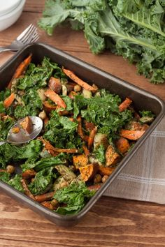 Roasted Kale and Veggies - Sweet potato, carrot, zucchini, chickpeas, dill, coconut oil, kale, olive oil, onion, parsley flakes, apple cider vinegar, garlic powder, sea salt