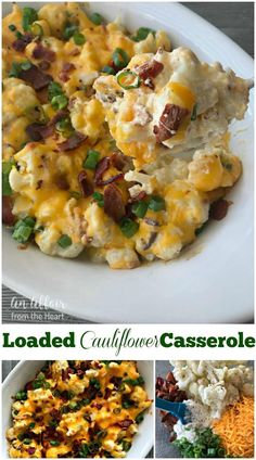 Loaded Cauliflower Casserole - An Affair from the Heart - Loaded baked potato meets cauliflower - baked in this super easy, extra delicious casserole! Loaded baked potato meets cauliflower - baked in this super easy, extra delicious low carb casserole! Loaded Cauliflower Casserole, Vegetable Casserole, Loaded Baked Potatoes, Cauliflower Bake, Califlower Casserole, Frozen Cauliflower Recipes, Cauliflower Side Dish, Twice Baked Cauliflower, Cauliflower Mashed Potatoes