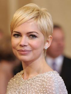 """Michelle Williams Williams's flirty crop proves that short hair needn't be tomboyish. """"Her pixie is really sexy thanks to the longer hair at the crown, and the soft and wispy back and side pieces,"""" says Fugate. This cut works best for fine or medium textures."""