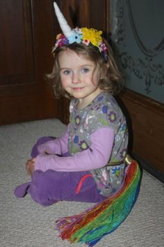 Make a Unicorn Horn Flower Crown and tail. Allie's birthday this year!