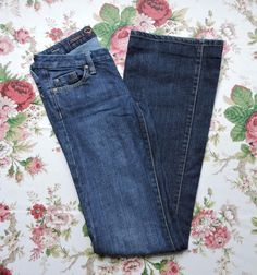 Fidelity Women Blue Snap Dragon Low Waist Flare Jeans Size 27 #Fidelity #Flare