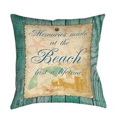 Single Piece Green Golden Quote Throw Pillow, Memories Made At The Beach Last A Lifetime, 16 Inch, Square Shape, Casual Style,      Beach accent pillows are the way to bring the Sea to you.  You will apprecaite that beach accent pillows look amazing in the following home decor themes, lighthouse home decor, nautical home decor, beach home decor, maritime   home decor and coastal home decor.  While being cute you will appreciate the use of bold colors coupled with beautiful patterned pillows.