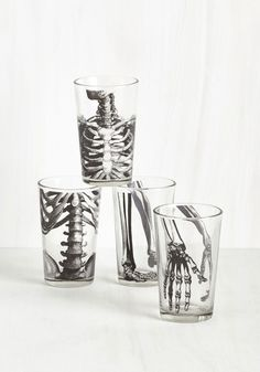 Toast to Anatomy and You. No bones about it - this skeletal drinkware set makes raising a glass to your scientific sensibilities simply irresistible! #multi #modcloth