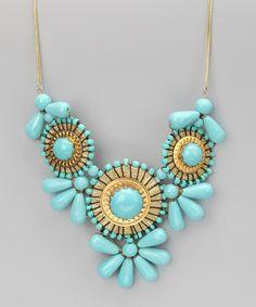 Gold & Turquoise Bib Necklace