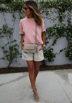 SINCERELY JULES 'Cara' shortsleeve sweatshirt THEORY linen shorts BALENCIAGA double-buckle wedges CHLOE 'Faye' bag DIOR 'so-real' sunnies http://FashionCognoscente.blogspot.com