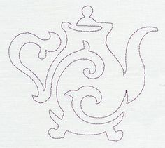"""""""Quilting Teapot (Single Run)""""  Use this design, which stitches in one continuous line, to quilt through layers of fabric and batting.  -  UT6269 (Machine Embroidery)  00445675-042713-0820-7"""
