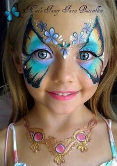 #butterfly #face #painting - I like the painted on necklace