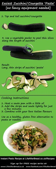 Easiest way to make Zucchini / Courgette Pasta - no fancy equipment needed
