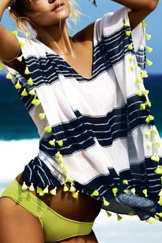 Plunging Neck Striped Loose-Fitting Blouse