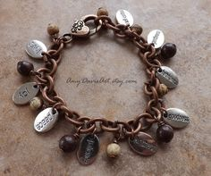 Fruit of the Spirit Christian Charm Bracelet, Brown Earth-tone Beads, Galatians 5 Bible Jewelry, But the fruit of the Spirit is... by AmyDavisArt on Etsy
