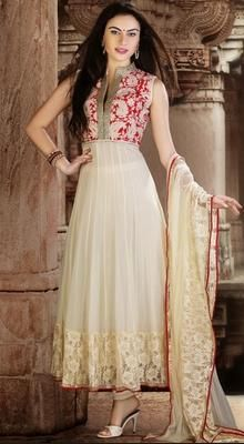 Off White Georgette Anarkali Dress #trendy-salwar-patterns #Partywear-SalwarSuit