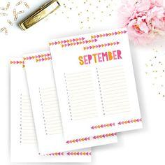 Pink And Orange Tribal Arrow Calendar Planner
