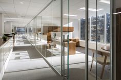 Corporate office for Richemont. Designed by Kahn Architecture & Design City Office, Home Office, Commercial Interior Design, Commercial Interiors, Executive Suites, Open Plan, Glass Door, Architecture Design, How To Plan