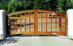 like the wood detail on this. Gate 2, Fence Gate, Fences, Gates And Railings, Custom Gates, Driveway Gate, Wood Detail, Entrance Gates, Garage Doors