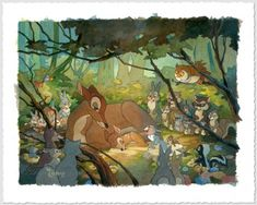 """Bambi and Mother"" by Toby Bluth - Limited Edition of 95 on Hand-Deckled Paper, 11x14.5.  #Disney #Bambi #DisneyFineArt #TobyBluth"