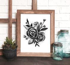 black & white watercolor floral print by DevonDesignCo on etsy