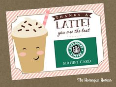 Items similar to Thanks A Latte Gift Card Holder Printable - Teacher Gift, christmas gifts, holiday gifts, Coffee giftcard on Etsy Dunkin Donuts Gift Card, Donut Gifts, Starbucks Gift Card, Starbucks Order, Thanks A Latte, Teacher Christmas Gifts, Holiday Gifts, Christmas Ideas, Teacher Appreciation Gifts